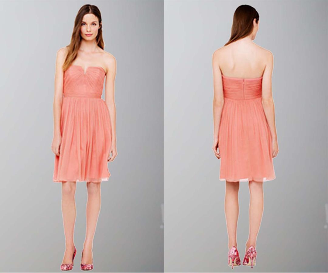 Blue Sweep V-neck Shirred Short Bridesmaid Dresses