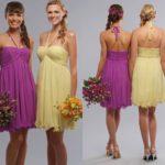 Braid Halter Empire Short Bridesmaid Dresses