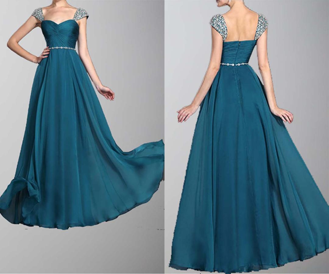 Cap Beading Sleeves Chiffon Long Prom Dresses