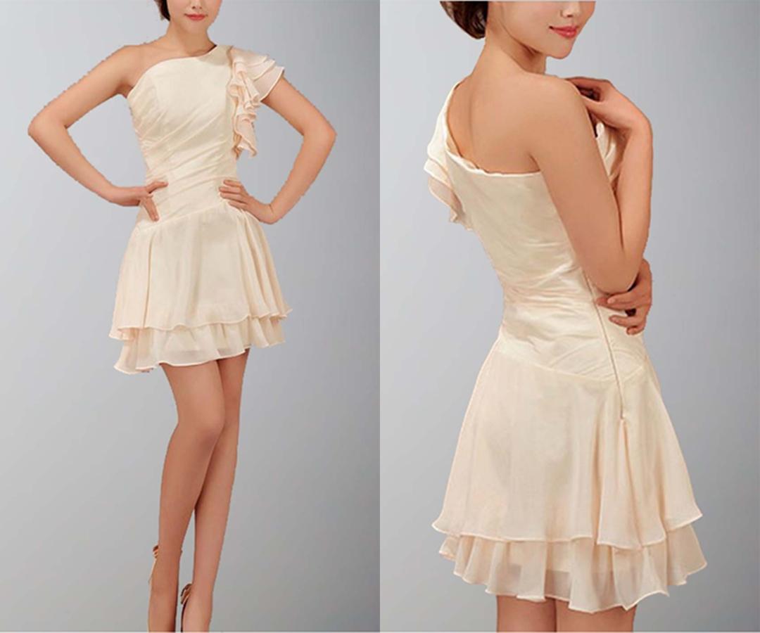 Chic Unique One Shoulder Layered Short Summer Dress
