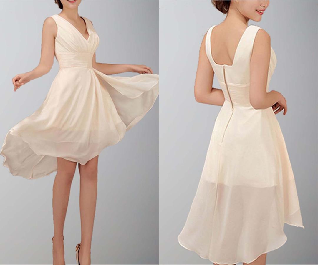 Chiffon V-neck Rrregular High Low Short Prom Dresses