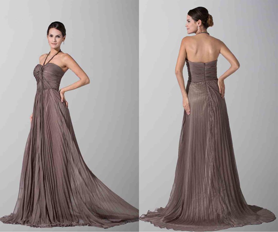 Chocolate Halter Twist Bust Long Bridesmaid Dresses