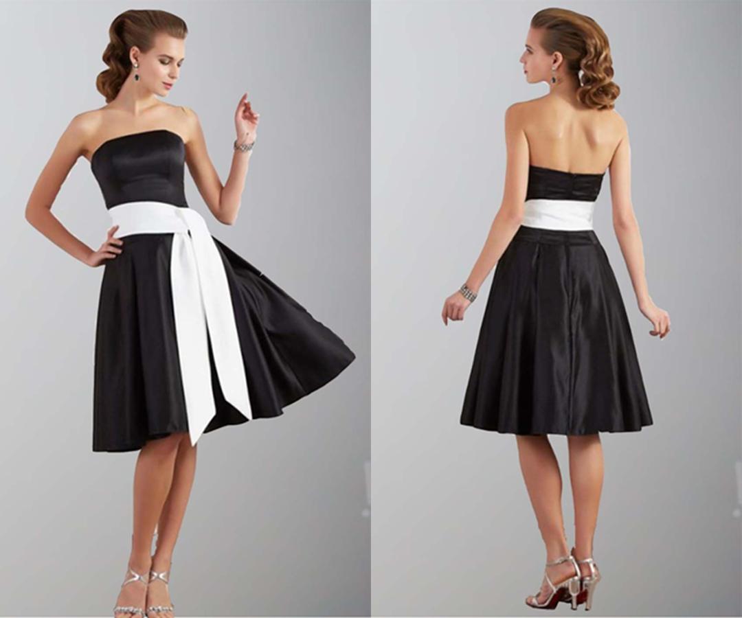 Classic Black Strapless Short Bridesmaid Dresses