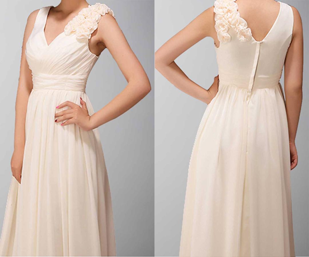Classic V-neck Long Chiffon Prom Dress