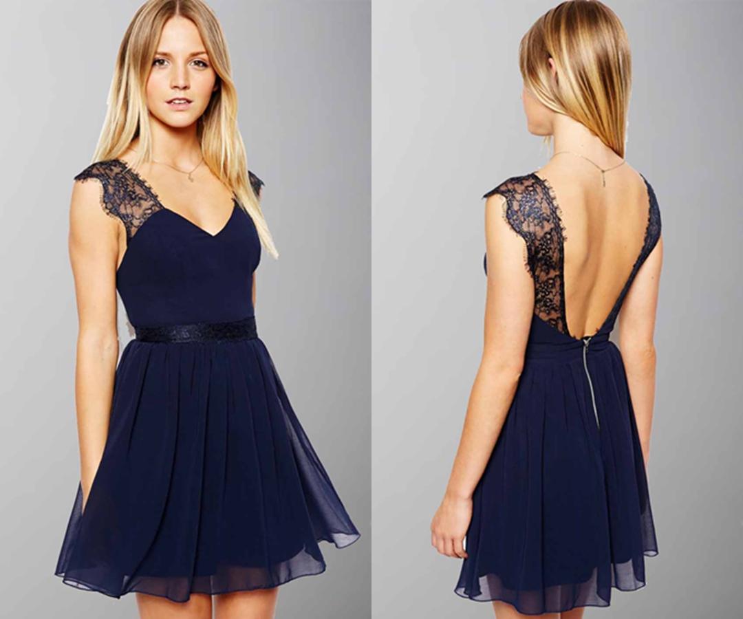 Cute Lace Cap Sleeves V-neck Short Graduation Dress