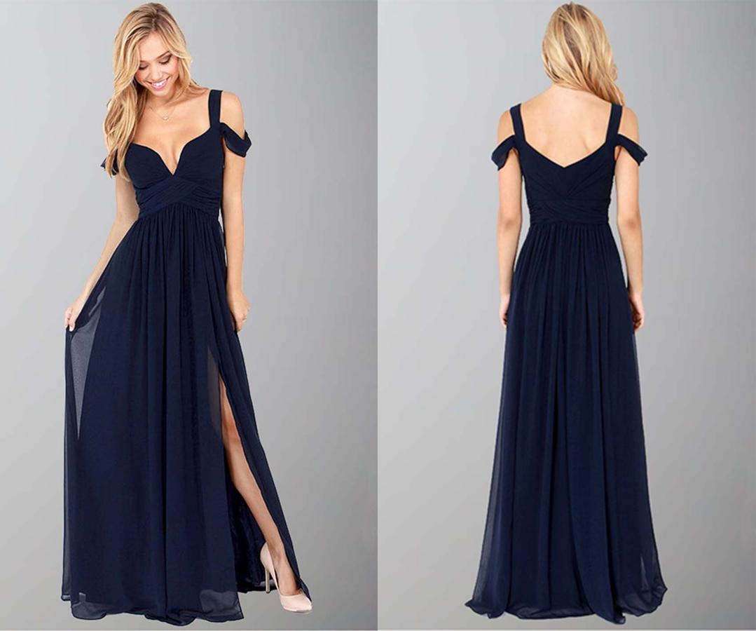 Dark Blue Off Shoulder Slit Sexy formal Dresses