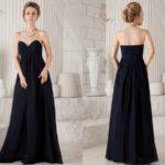 Dark Blue Sweetheart Empire Long Bridesmaid Dresses