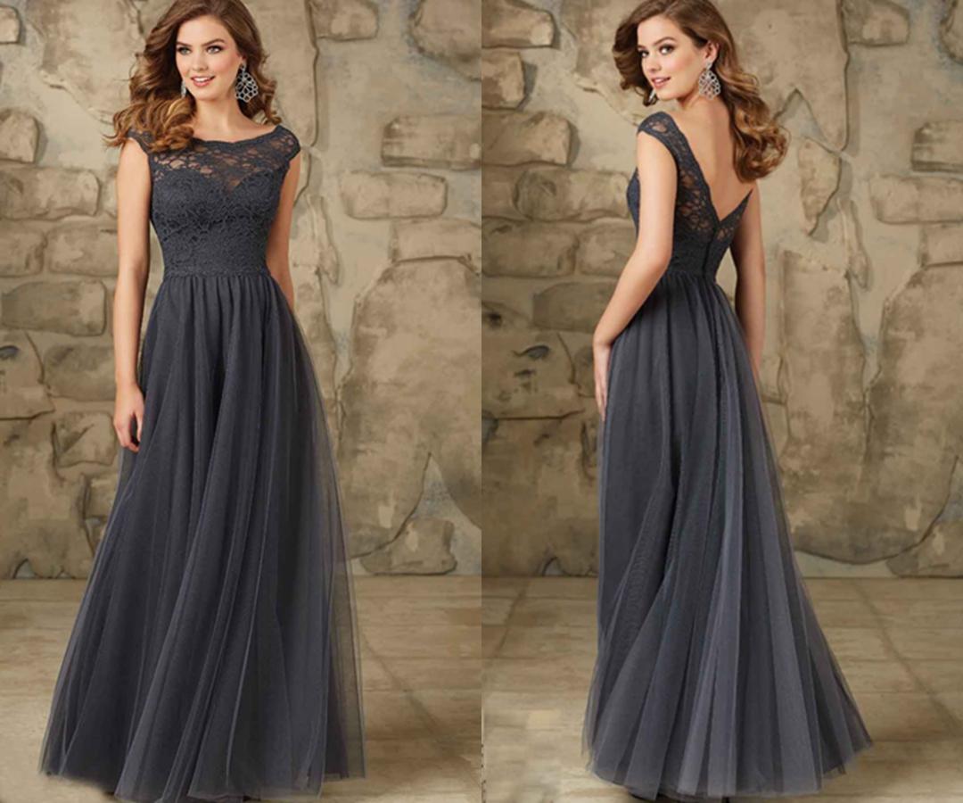 Cheap Black N White Wedding Dresses: Dark Gray Long Lace Bridesmaid Dresses