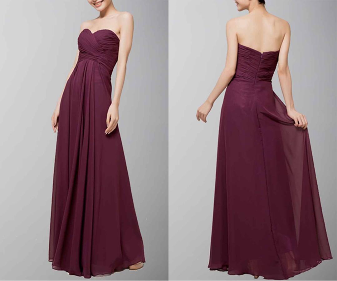 Dark Purple Fancy Chiffon Bridesmaid Prom Dress