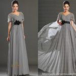 Dark gray bridesmaid dresses with black sash