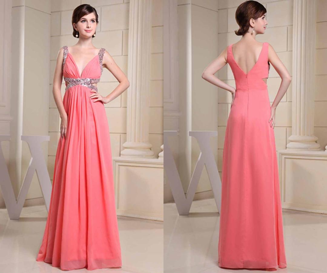 Deep V-neck Cut Out Sequin Straps Long Prom Dress