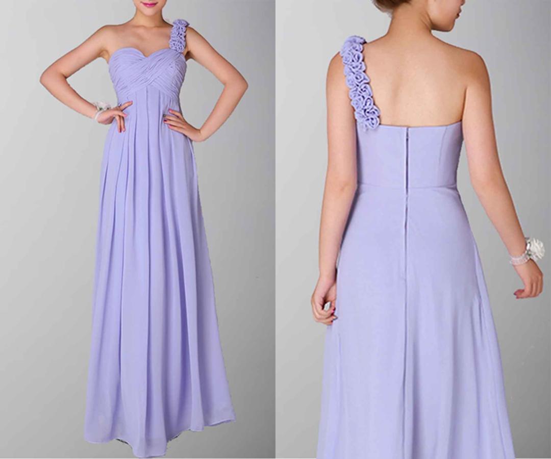 Delicate Asymmetric Empire One Shoulder Dress For Wedding