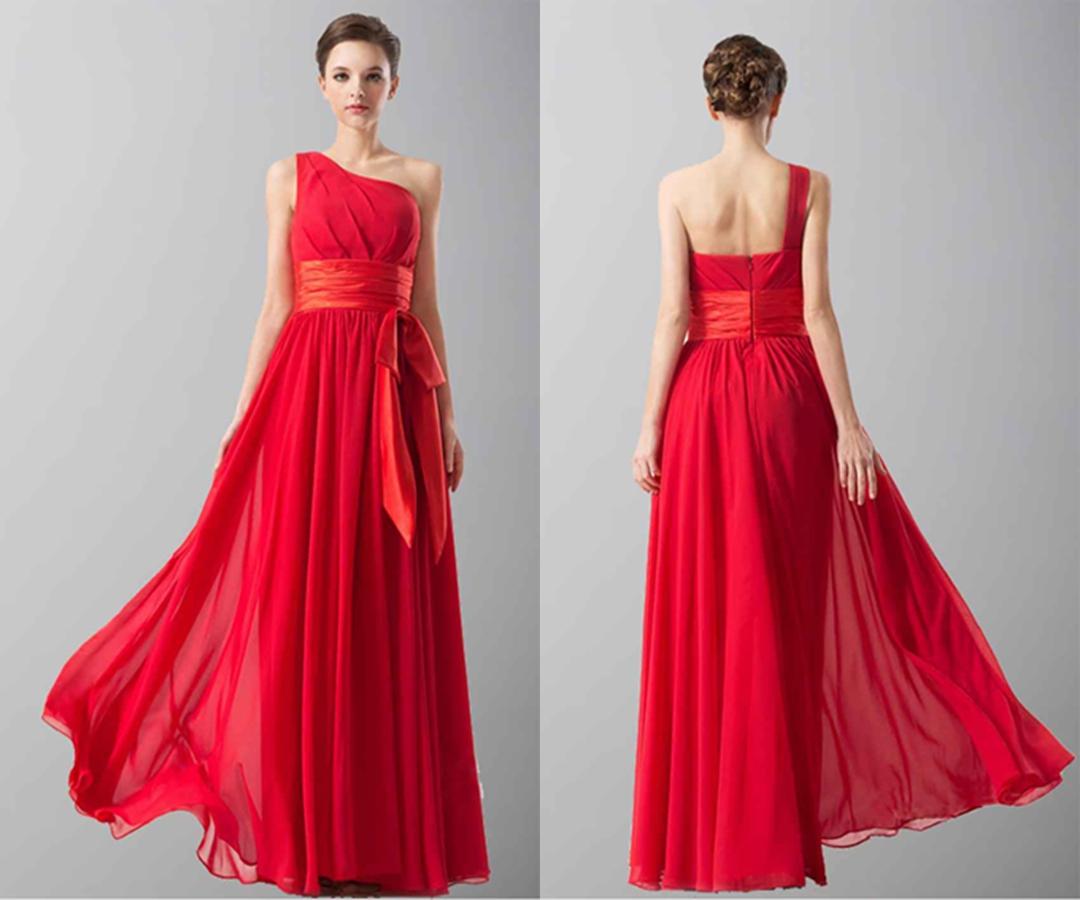 Elegant Red One Shoulder Long Chiffon Prom Dresses