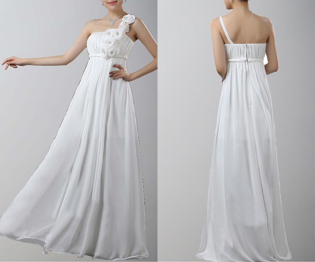 Floral One Shoulder Floor-Length Chiffon Prom Dresses