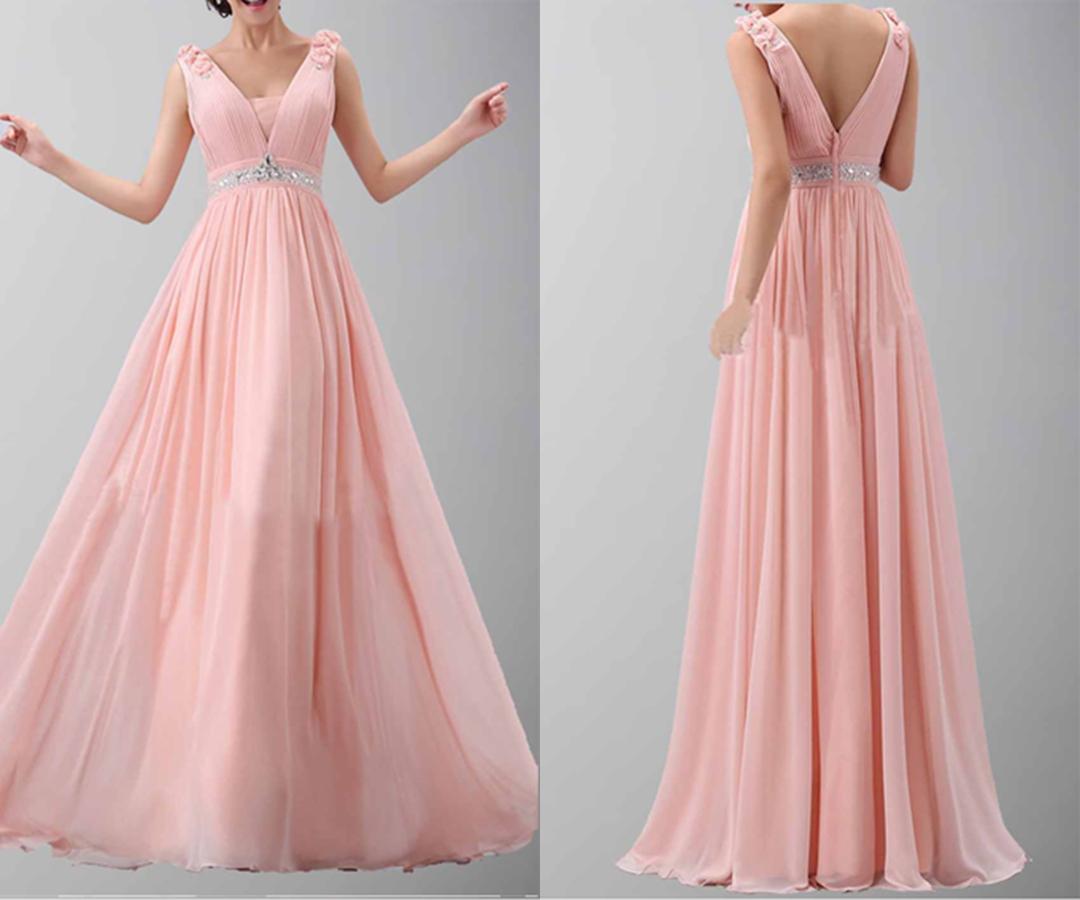Flower Shoulder Belt V-neck Long Chiffon Prom Dress