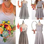 Gray bridesmaid dresses coral necklace
