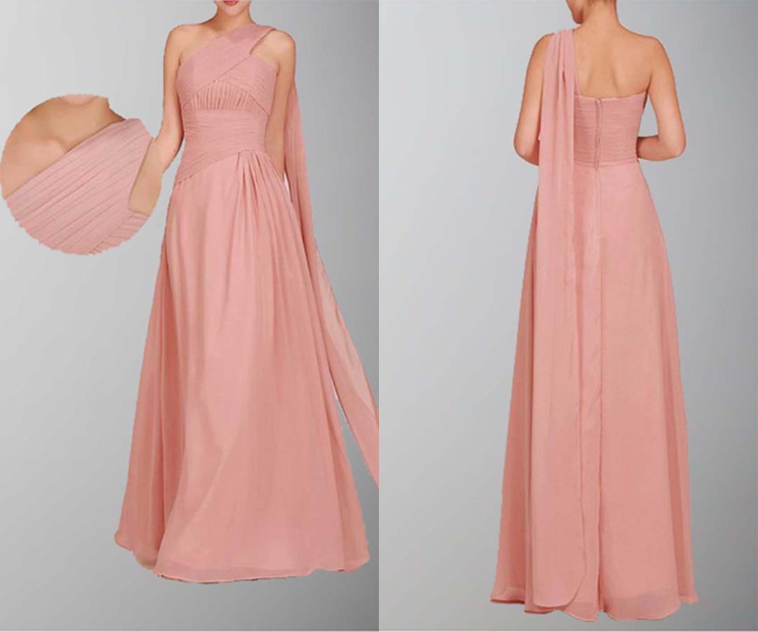 Grecian Single Shoulder Long Wedding Guest Dress