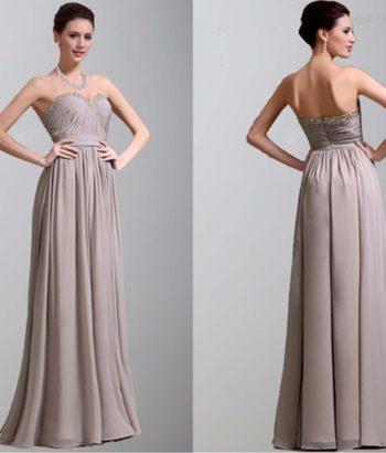 Grey Elegant Strapless Long Chiffon Prom Dress