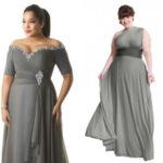 Plus sizes long one shoulder charcoal gray bridesmaid dresses