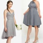 Short plus size gray bridesmaid dresses 2018