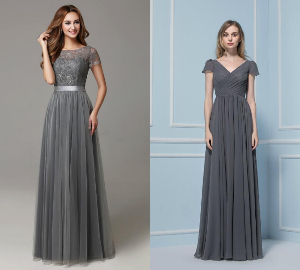 dark gray bridesmaid dresses with short sleeve