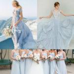 light blue gray bridesmaid dresses
