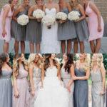 light pink and gray bridesmaid dresses