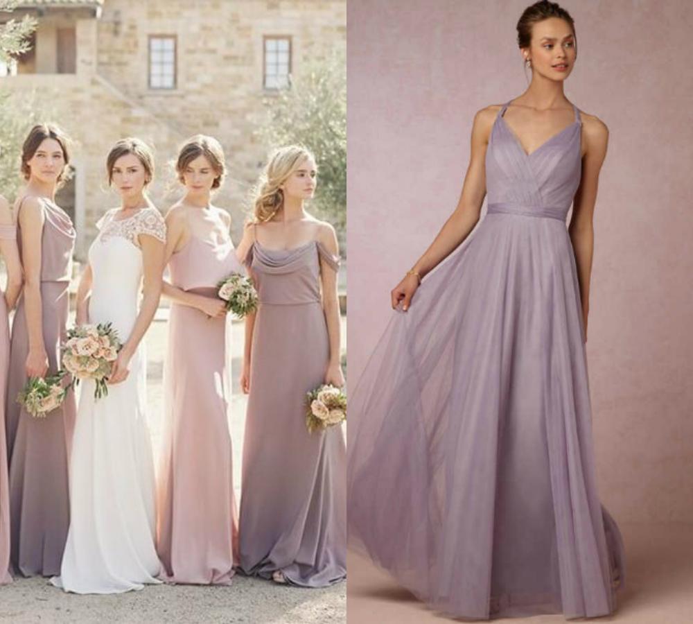 Lilac Gray Bridesmaid Dresses Long Budget Bridesmaid Uk