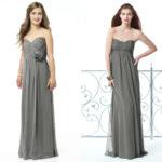 long charcoal gray bridesmaid dresses sweetheart