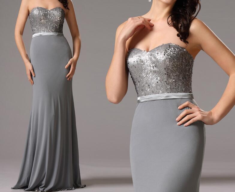 sequin gray bridesmaid dresses elegant