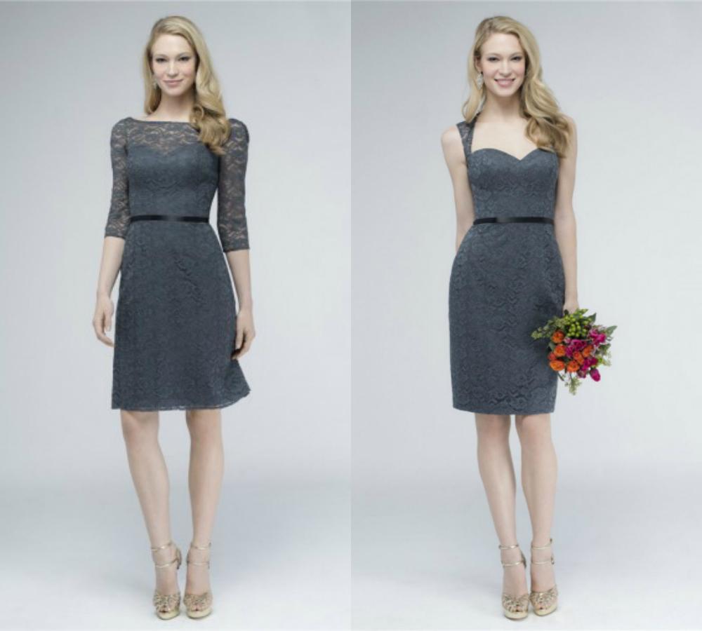 short charcoal gray bridesmaid dresses elegant