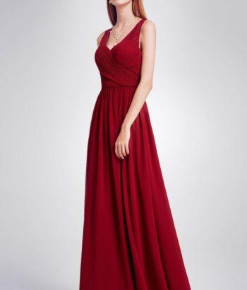 Burgundy Lace Strap Chiffon Bridesmaid Dress 2019