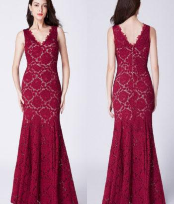 Burgundy Long V Neck Lace Mermaid Formal Bridesmaid Dress