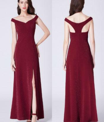 Burgundy Off Shoulder Split Formal Bridesmaid Dress