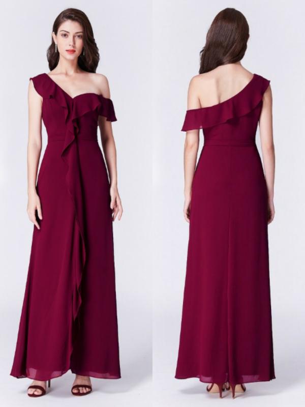 Burgundy Ruffles One Shoulder Chiffon Formal Dress in Wine