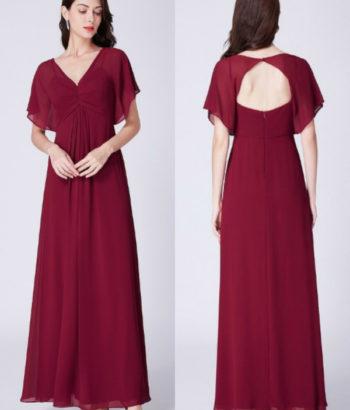 Burgundy Short Sleeved Chiffon Bridesmaid Dresses