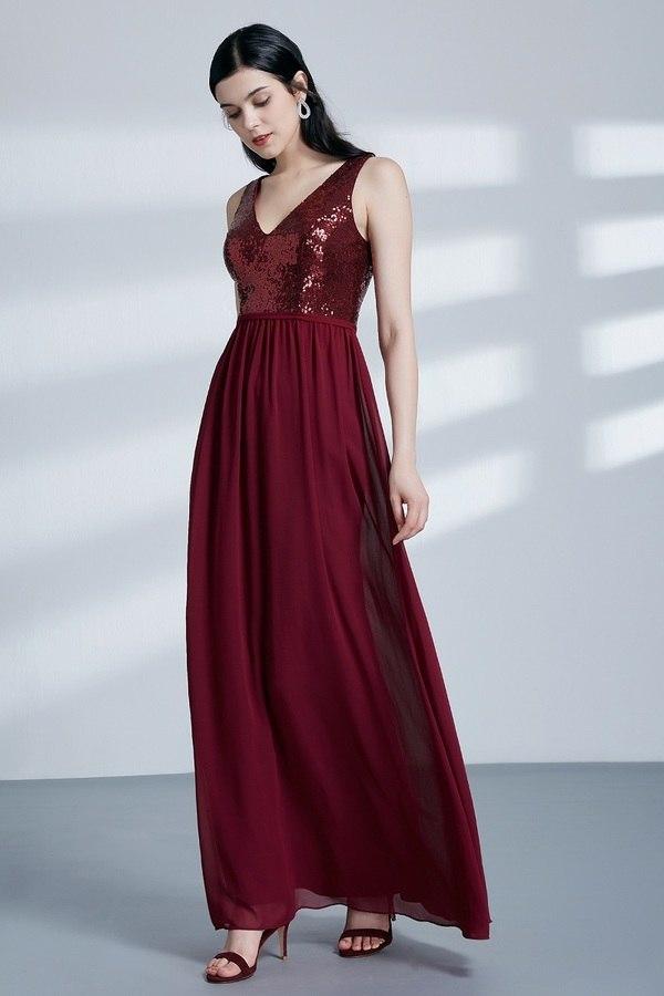 Sleeveless V Neck Sequins Formal Burgundy Bridesmaid Dress