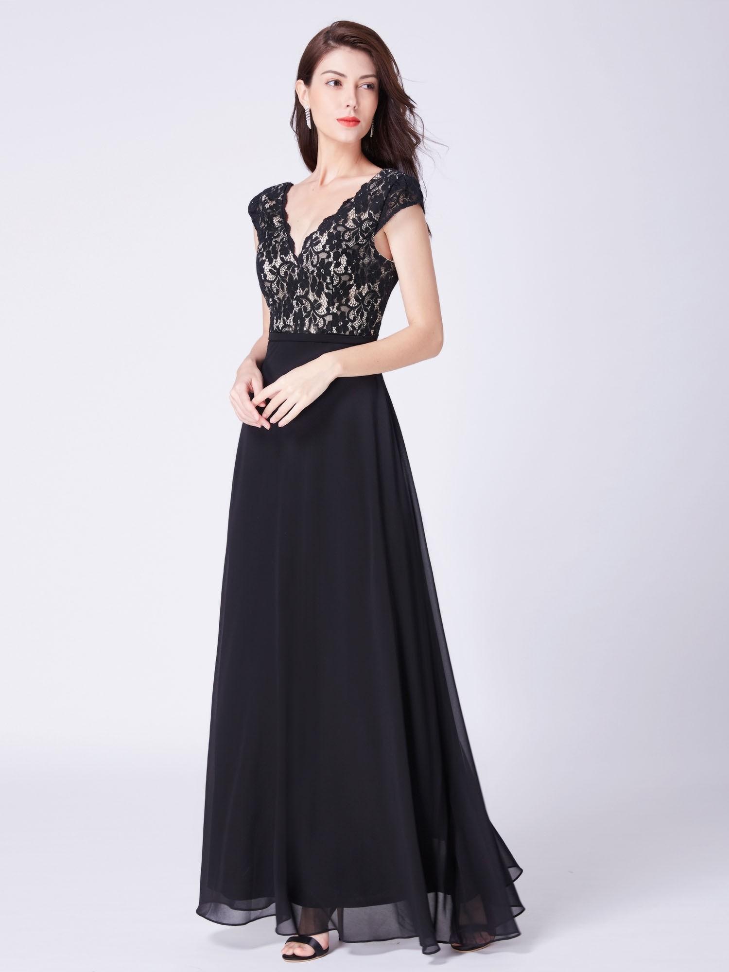 Black Long V Neck Lace Mother of The Bride Dresses