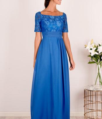 Blue Half Lace Sleeved Chiffon Bridesmaid Dress