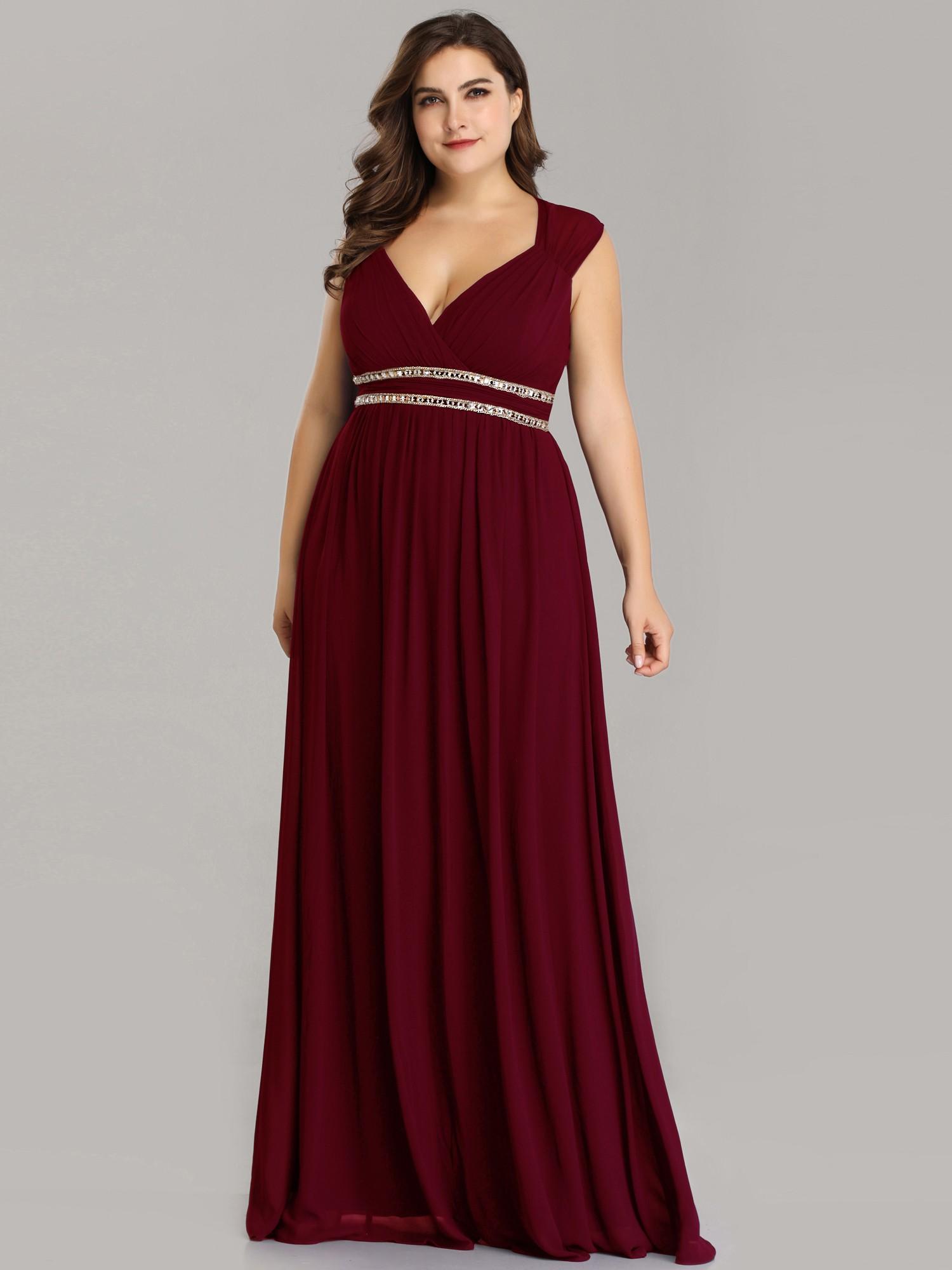 Burgundy Long V Neck Plus Size Mother Of The Bride Dresses