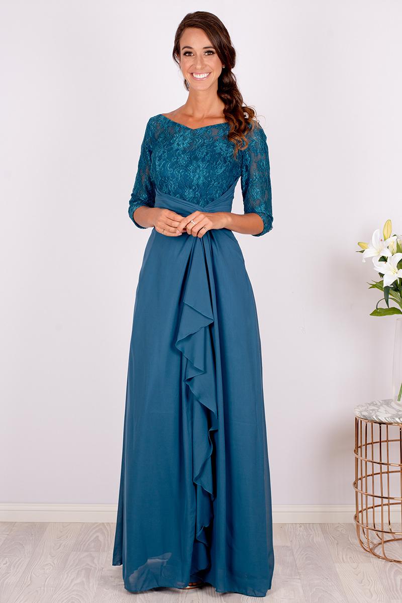 Elegant Blue Lace Half Sleeved Bridesmaid Dress 2019