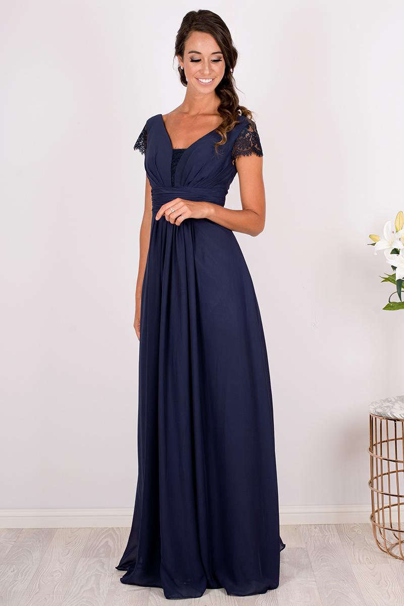 Navy Blue Lace Sleeved Chiffon Bridesmaid Dress