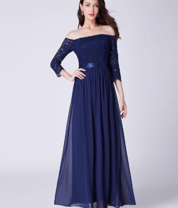 Off Shoulder Blue Lace Half Sleeved Bridesmaid Dresses