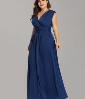 Plus Size Blue V Neck Mother Of The Bride Dresses