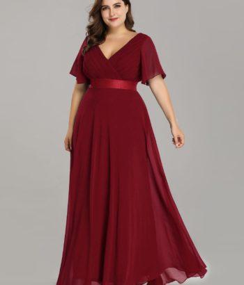 Plus Size Burgundy V Neck Mother Dresses with Half Sleeves