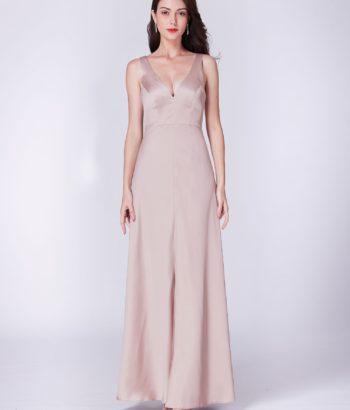 Satin V Neck Baby Pink Bridesmaid Dresses